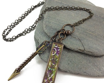 Bling Arrow and Embossed Metal Tag Necklace // mixed metal arrow with sparkle pendant // handmade // ready to ship