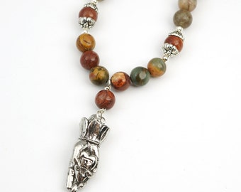 "Heart in hand necklace with warm earthtone red creek jasper beads, semiprecious stone, 20 1/4"" long"