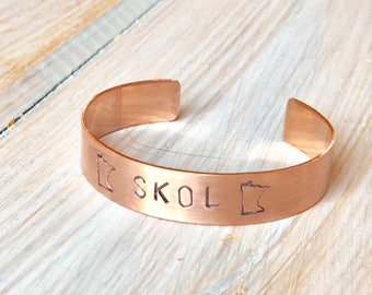 SKOL Copper Cuff, SKOL Gifts for Him, SKOL Gifts for her, Minnesota Vikings Party Jewelry, Minnesota Football Fan Gift Ideas, Vikings Gift