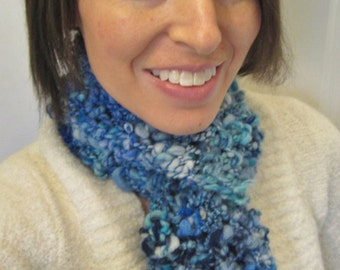 20% OFF - Winter Blues Hand Knit Scarf
