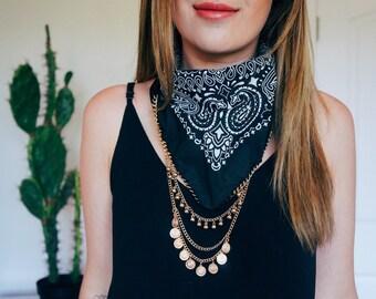 Black Bandana with Gold Chain and Charms | Bandana Necklace | Hipster Jewelry | Bandana Choker | Boho Fashion | Western Style | Statement