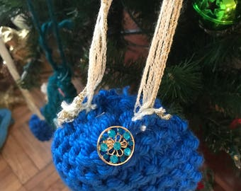 Hand-made knitted Christmas ornament