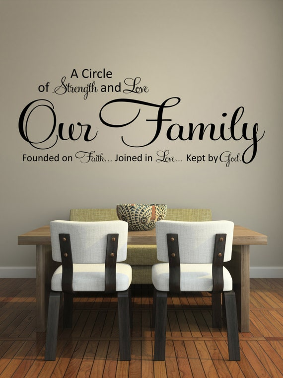Items similar to wall decals quotes a circle of strength and love wall decal vinyl wall sticker on etsy