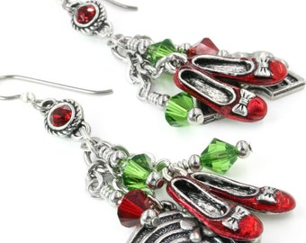 Dorothy's Shoes, Ruby Slippers, Wizard of Oz Earrings, Ruby Slipper Earrings, Red Slippers, Drop Earrings, Dangle Earrings