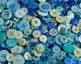 50 Blues, Teal Green mix Buttons, OCEAN WAVE Mix Assorted Size Mix Grab Bag Crafting Jewelry Collect (1621)