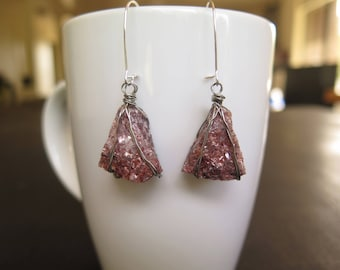 Lepidolite Mica Stone Mineral Rough Silver Wire-Wrapped Dangle Earrings