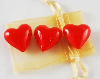 Set of 3 Red Glass Pocket Hearts with Organza Bag