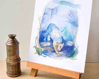 Jaguar - Art Print - Watercolor Illustration, Jungle Cat Painting, Roam the Globe series, Amazon Animal Art
