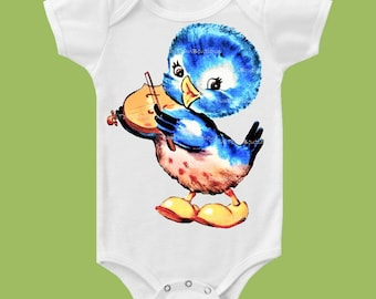 BlueBird playing Violin, Blue Bird T-Shirt, One Piece Baby, Tank or TShirt, Violin School Shirt, Blue by ChiTownBoutique.etsy