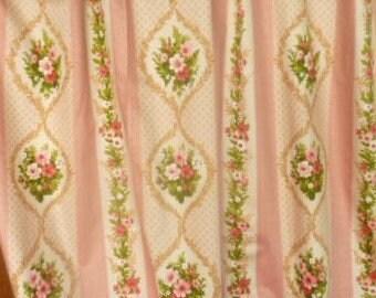 romantic vintage Panel with pink flowers * 2.60 x 1.30 m cm * cotton sateen