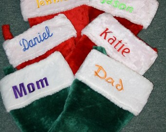 Christmas Stockings, Plush Green and White Personalized Monogrammed, Custom Embroidered,