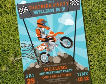 Dirt Bike Party Invitation - Motorbike Party - Motocross Party - Instant Download and Editable File - Personalize with Adobe Reader