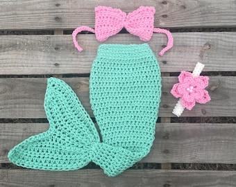 Mermaid Tail Photo Prop, Baby Mermaid Tail, mermaid fin, mermaid blanket, seafoam mermaid tail, mermaid costume