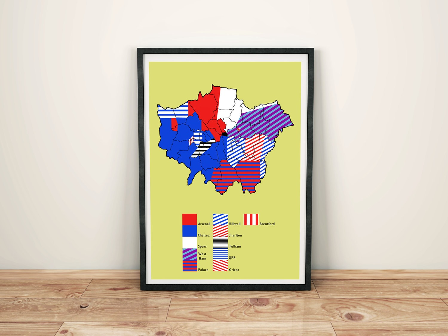 London football club territory map art print zoom jeuxipadfo Gallery