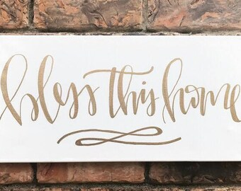 Bless This Home Sign - 10x20 canvas sign, bless this home sign, bless this home, home decor, wall art, hand lettered sign, custom sign