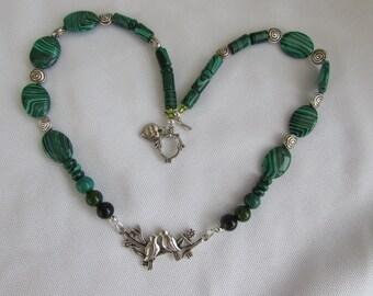 Birds on a bough Malachite necklace
