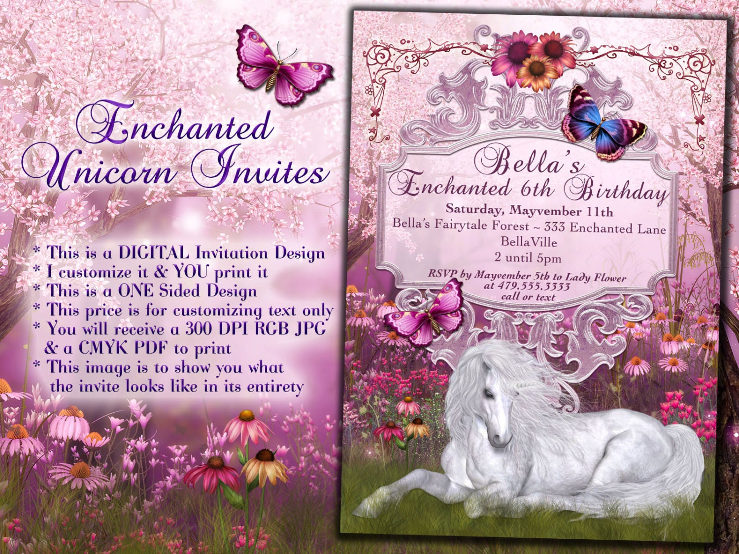 Unicorn Party Invitation Birthday Party Invitations Magic