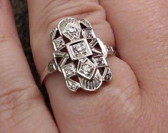 1920's Art Deco White Gold Engagement Ring