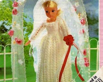 "PDF Sindy Doll 11"" Knit Wedding Dress Pattern"