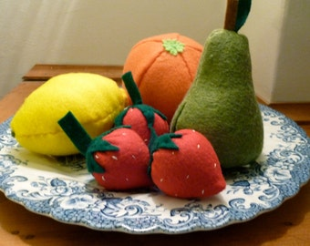 Playfood Fruit Set, Felt Food Fruit Set, Pretend Fruits
