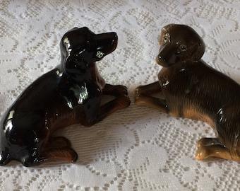 Pair of Vintage Labrador Dog Ceramic Figures