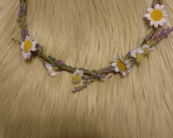 Lavender and Daisy Flower Crown