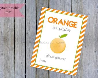 Printable orange lip balm gift card, lip balm giftcard holder, round balm, orange eos, teacher thank you, teacher appreciation, teacher gift
