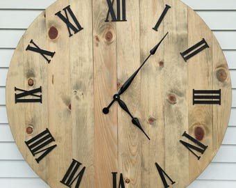 Farmhouse Style Rustic Wooden Clock--Weathered Oak--4 sizes!
