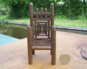 1/12th scale miniature early medieval wooden turned armchair