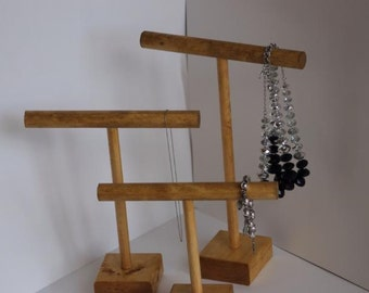 Three Part  Wooden Jewelry Stand