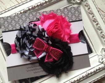 Hot Pink Zebra Headband