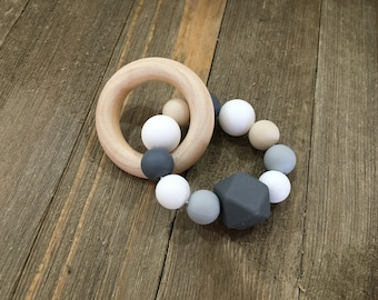 Wood Ring Silicone Teething Toy