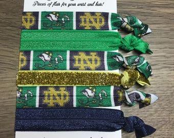 Notre Dame Fighting Irish Blue Green Gold Inspired Football Hair Ties Hair Elastics 5/8 Inch FOE Bracelet