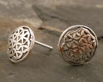 Flower of life ear studs, 925 Sterling Silver earrings