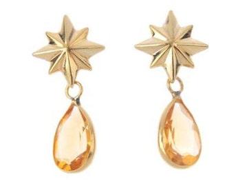 A Pair of 18k Gold Citrine Earrings