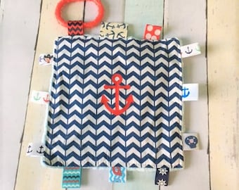 Baby boy toys, crinkle toys, sound toys,  Nautical theme toys,   7 inch square with lots of noise, babies love these. Choose anchor or name