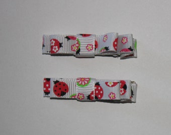 Pair of Ladybug 2 Prong Hair Clips