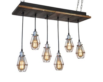 Cage Light Rustic Industrial Pendant Chandelier - Bare Bulb Chandelier with Edison Bulbs, Rustic Dinig Room Chandelier, UL Listed