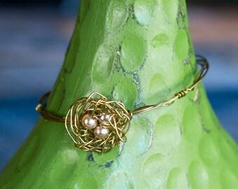 Bronze Nest with Eggs Bracelet