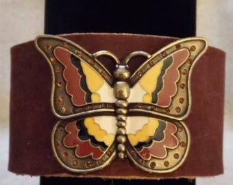 Leather Cuff Bracelet with Enamel Butterfly