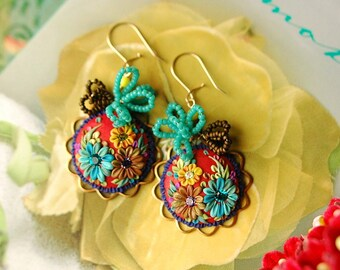 sunset fiesta by the ocean - mexican embroidery earrings