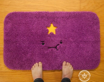 Adventure Time Bath Mat or Rug - Lumpy Space Princess (LSP) - Embroidered Geeky Bathroom or Kitchen Decor