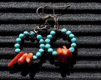 Tibetan Hoop Earrings with Turquoise, Red Coral and Sterling Silver
