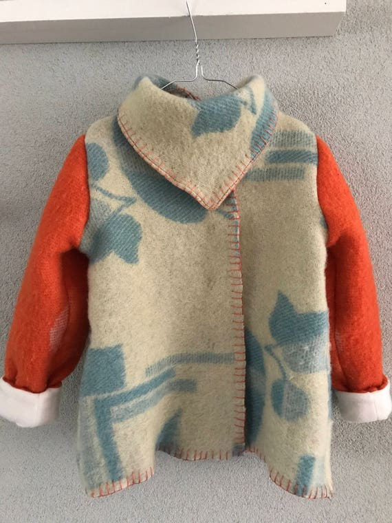 Handmade blanket coat | wool girls jacket |  wool blanket coat | handmade wool coat | girls wool coat | size 116