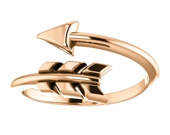 Solid Gold Arrow Ring - 14k, 18k Yellow, Rose, White Gold & Platinum Adjustable Band. Gold Arrow Jewelry, Gifts