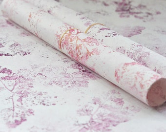 2 Handprinted japanese fine paper sheet for decoration and wrapping, in pink and golden pink