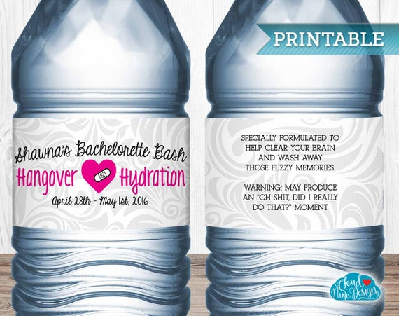 Bachelorette Party Personalized Water Bottle Labels Hangover - Bachelorette water bottle label template