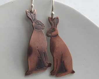 Hare earrings sitting hares or running hares