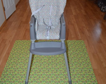 Brown/Green Monkeys Splat Mat / Art  Mat - Baby High Chair Washable Protection - Choose Your Patttern