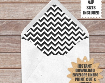 Black And White Chevron ENVELOPE LINERS  | European Style Printable Envelope Liners a9, a7, a6, a2 And 4 Bar Template In Chevron Pattern